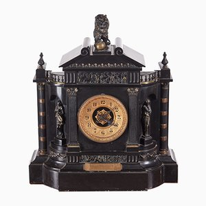 Large Victorian Marble Mantle Clock, 1880s