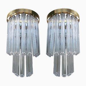 Applique vintage in vetro di Murano, set di 2