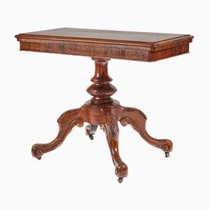 Table à Cartes Victorienne en Loupe de Noyer, 1860s