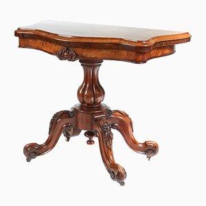 Table à Cartes Victorienne en Loupe de Noyer, 1850s