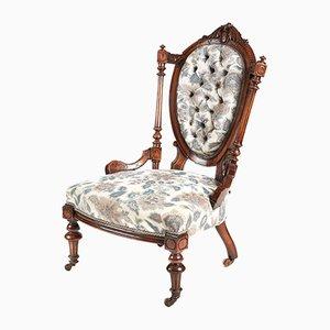 Viktorianischer Ladies Chair aus Nussholz, 1860er