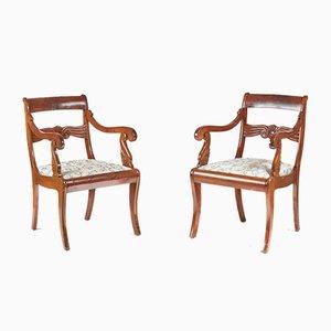 Geschnitzte französische Stühle aus Mahagoni, 1880er, 2er Set
