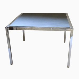 Vintage Square Chromed Metal & Slate Top Coffee Table, 1970s