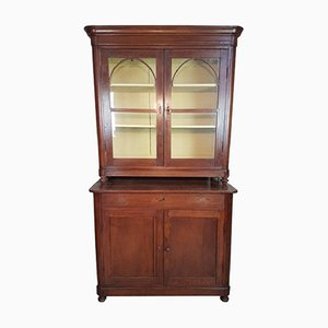 Antique Solid Walnut Display Cabinet, 1820s