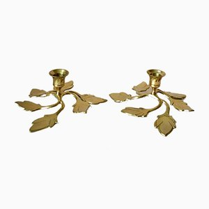 Vintage Swedish Brass Candle Holders, 1970s, Set of 2