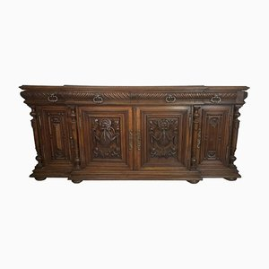 Large Antique Carved Walnut Credenza, 1880s