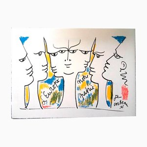 Jean Monnet's Vision Lithograph by Jean Cocteau, 1961
