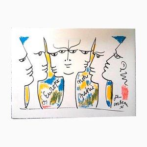 Litografia Jean Monnet's Vision di Jean Cocteau, 1961