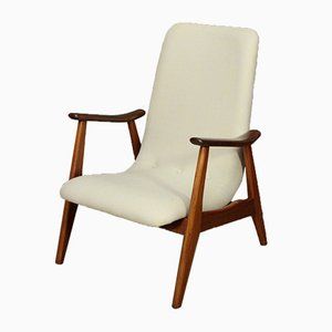 Mid-Century Dutch Highback Wool Easy Chair by Louis van Teeffelen