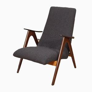 Mid-Century Dark Grey Armchair by Louis van Teeffelen