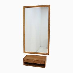 Espejo con marco de roble y cajón de Aksel Kjersgaard, años 60