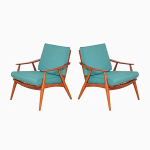 Mid-Century Turquoise Armchairs, 1960s, Set of 2