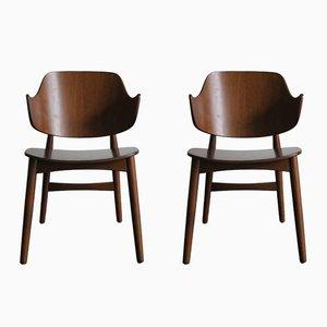Sedie in teak di Jens Hjorth per Randers Møbelfabrik, Danimarca, anni '50, set di 2