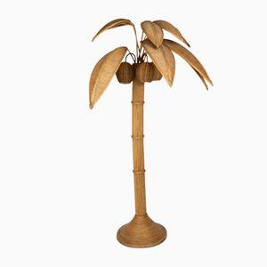Stehlampe in Palmen-Optik aus Korbgeflecht von Mario Lopez Torres, 1960er