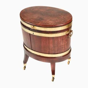 Antique George III Oval Mahogany & Brass Wine Cooler