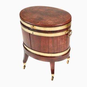 Enfriador de vinos George III antiguo ovalado de caoba y latón