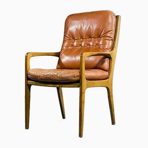 Vintage Armlehnstuhl aus Birkenholz und Leder von Eugen Schmidt