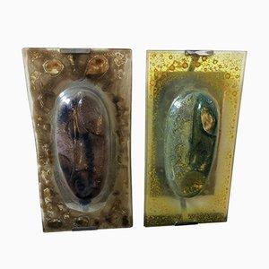 Apliques italianos Mid-Century de cristal de Murano de Esperia, años 70. Juego de 2