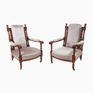 Antique Carved Oak Armchairs, 1880s, Set of 2