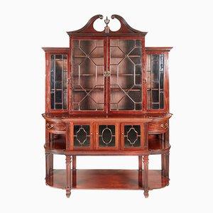 Großes antikes Breakfront Bücherregal aus Mahagoni mit Astragal-Glasur