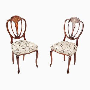 Antique Mahogany Inlaid Side Chairs, Set of 2