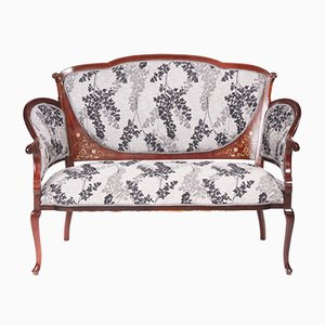 Antique Edwardian Mahogany Inlaid Settee