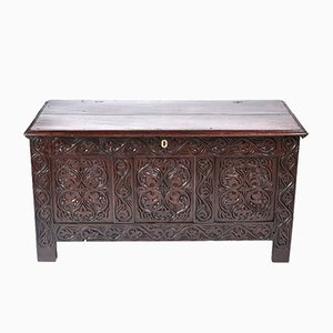 18th-Century Carved Oak Coffer