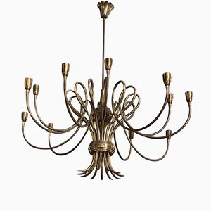Mid-Century Modern 12-Light Brass Chandelier in the Style of Oscar Torlasco, 1950s