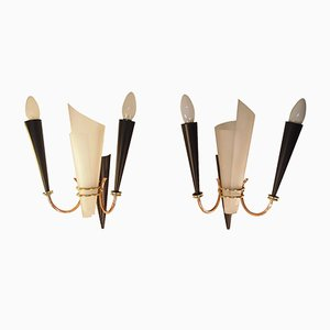 Mid-Century French Perspex & Brass Wall Sconces from Lunel, 1958, Set of 2