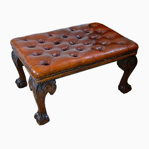 19th Century Deep-Buttoned Leather Stool