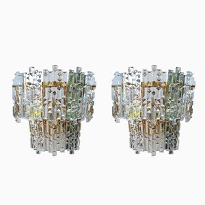 Mid-Century Modern Crystal Sconces, Set of 2