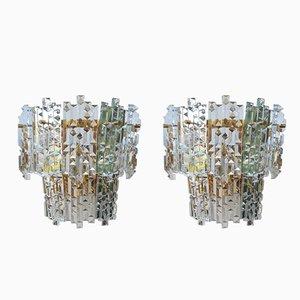 Mid-Century Wandleuchten aus Kristallglas, 2er Set