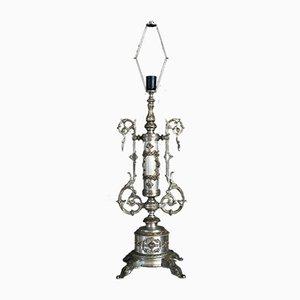 Große französische Lampe aus Metall, 19. Jh.