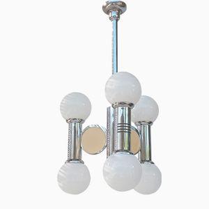 Lámpara de araña vintage con globos de metal cromado de Gaetano Sciolari