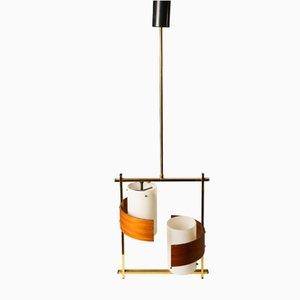Lámpara de techo italiana de vidrio opalino, madera y latón, años 60
