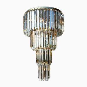 Large Modernist Four-Tier Murano Chandelier from Venini