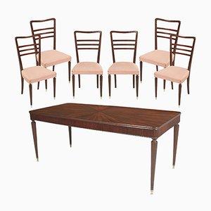 Tavolo da pranzo vintage in mogano con sei sedie di Paolo Buffa per La Permanente Mobili Cantù