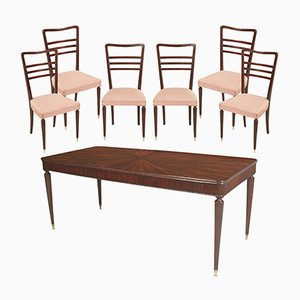 Vintage Mahogany Dining Table & 6 Chairs by Paolo Buffa for La Permanente Mobili Cantù