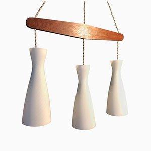 Lámpara colgante triple Mid-Century de Holmegaard, años 60