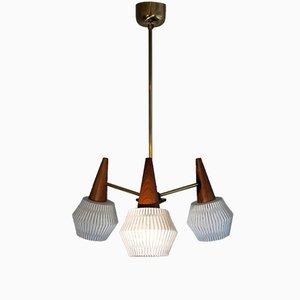 Lámpara de araña danesa Mid-Century de latón, palisandro y vidrio