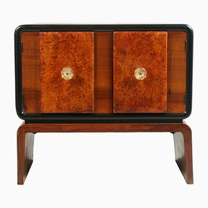 Art Deco Burl Walnut Bar Cabinet by Guglielmo Urlich for Meroni & Fossati, 1930s