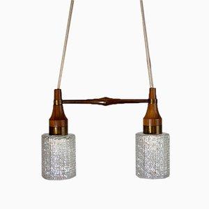 Lámpara colgante doble danesa Mid-Century de palisandro y vidrio