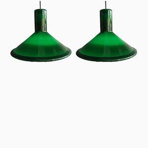 Lampes à Suspension P&T Pendel Vert Forêt par Michael Bang pour Holmegaard, 1970s, Set de 2