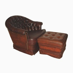 Fauteuil Chesterfield & Repose-Pieds Vintage, 1960s
