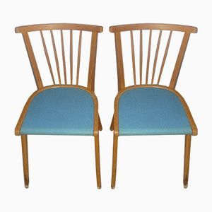 Light Blue Kitchen Chairs, 1950s, Set of 2