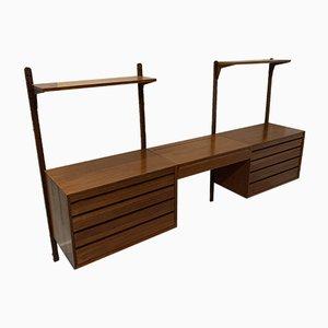 Mueble de pared modular vintage de Poul Cadovius, años 60