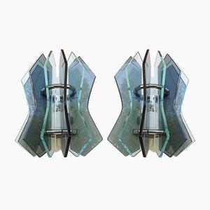 Applique Mid-Century in vetro di Murano fumé chiaro, set di 2