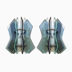 Mid-Century Murano Clear and Smoked Glass Sconces, Set of 2