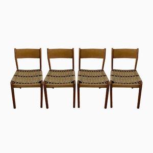 Teak & Rope Chairs, 1960s, Set of 4