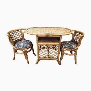 Mesa de jardín vintage y dos sillas de ratán